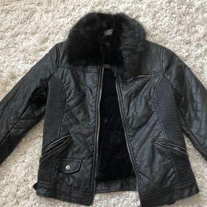 Faux leather faux fur jacket